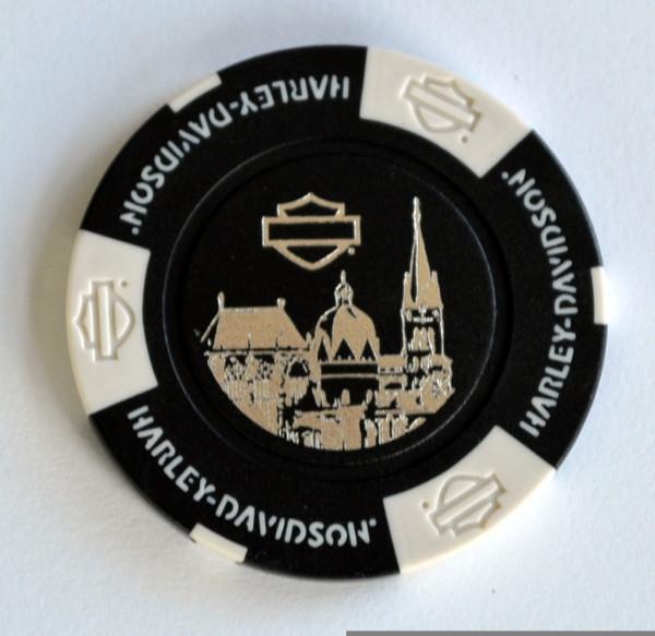 Harley Davidson Dealer Poker Chip schwarz Kohl Aachen Aachener Dom 1 Sammlerstück