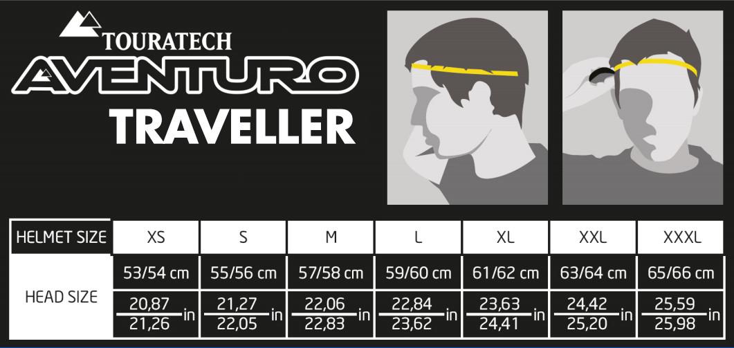 Touratech Aventuro Traveller Motorrad Helm die passende Größe finden