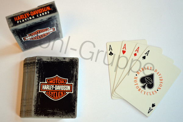 HD Harley Davidson Kartenspiel / Karten Poker Kartenset D637 grau