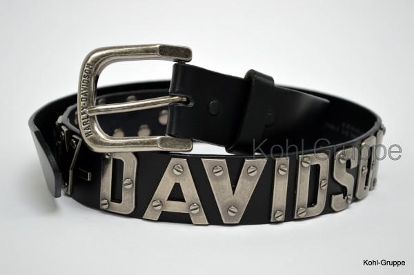"""HD Harley-Davidson Ledergürtel schwarz """"Metal Font"""" 32-44 HDMBT10636"""