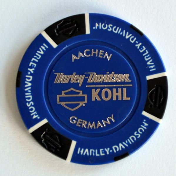 Harley Davidson Dealer Poker Chip blau Kohl Aachen Aachener Dom 1 Sammlerstück