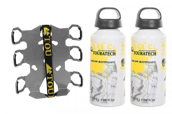 ZEGA Pro/ZEGA Mundo Zubehörhalterset Flaschenhalter zweifach mit 2x Touratech Aluminium Trinkflasche