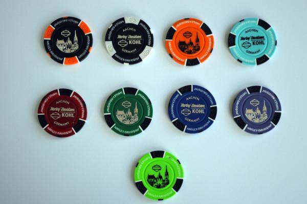 Harley Davidson Dealer Poker Chips Set Kohl Aachen Aachener Dom Sammlerstück